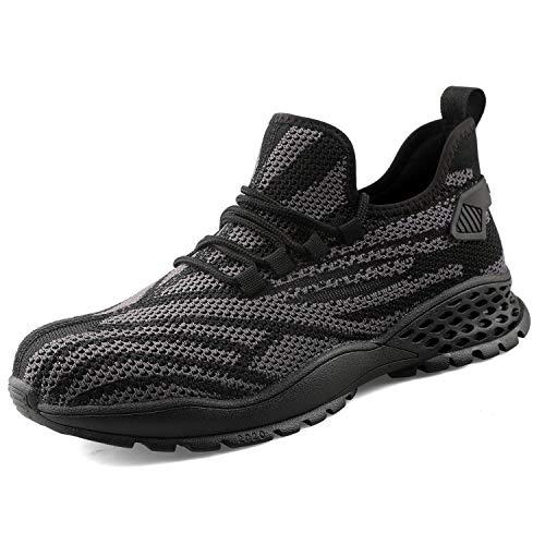Ucayali Zapato Seguridad de Trabajo con Punta de Acero Zapatos Trabajo Antideslizante para Trabajo Negro 46