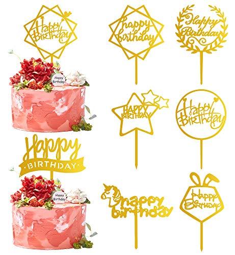 NaomoTopperTartaCumpleaños,HappyBirthdayDecoracionesparaTarta,CakeTopper,TopperdePastel (8 Unidades - Oro)