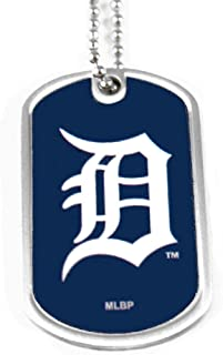 aminco Detroit Tigers Dog Tag Domed Necklace Charm Chain MLB