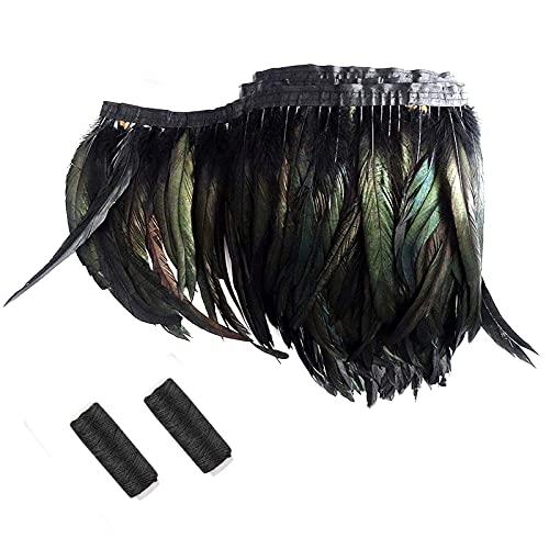 SwirlColor Plumas Negras Boa Adornos de Costura Plumas Artificiales Negro con 2 Hilos de Coser Negros Bricolaje para Chales de Plumas Negras Vestido de Noche con Flecos, 190 mm / 74.8 Pulgadas