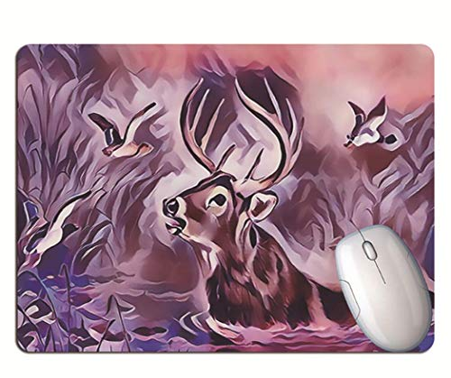 Alfombrilla De Ratón Para Juegos, Pintura Al Óleo Creativa, Ciervos Nadadores Y...