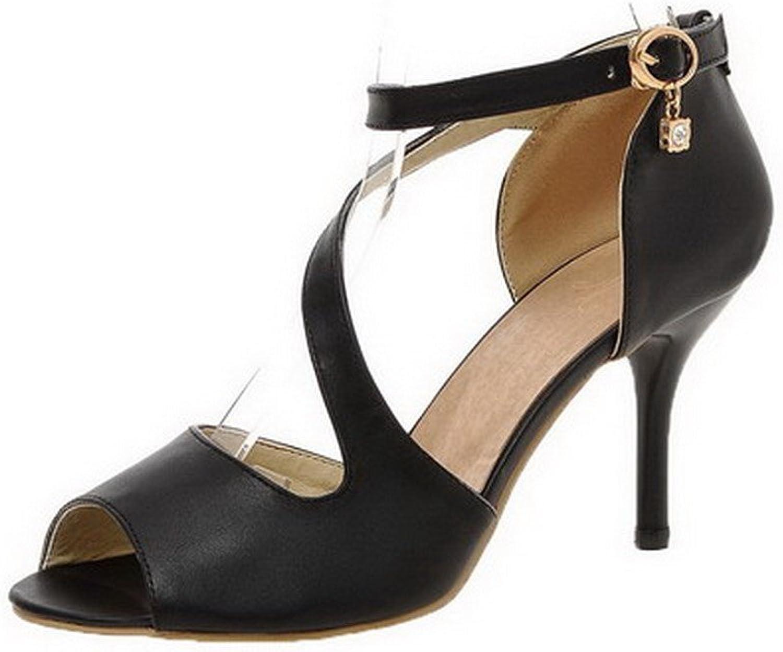 AmoonyFashion Women's Solid PU High-Heels Peep Toe Buckle Sandals, BUSLS005225, Black, 43