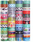Nastro decorativo Washi Tape, 48 rotoli di nastro adesivo in carta largo 15 mm, per fai-da-te,...