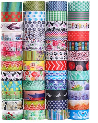 Washi Lot de 48 rouleaux de ruban adhésif décoratif, largeur 15 mm, pour bricolage, scrapbooking, bureau, fournitures de fêtes, emballage cadeau