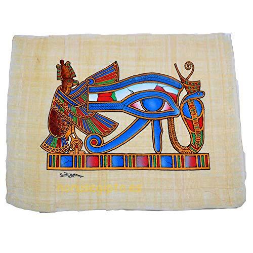 Antiguo Egipto, 2 papiros Originales Hechos y Pintados a Mano en Egipto. El Escarabajo Amuleto de la Buena Suerte y El Ojo de Horus amuletos Protector, Mide Cada uno 22 x33 cm