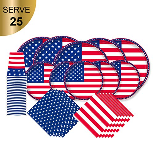 """American Flag Patriotic Paper Tableware Set- 125 Pieces - Including Napkins , 10"""" Big Paper Dinner Plates,7"""" Dessert Plates and Paper Cups, Cupcake topper, complete set for Veterans day, Election day"""