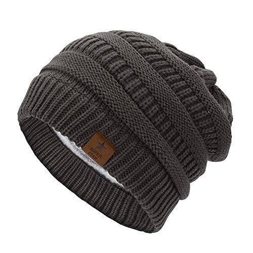 Durio Mütze Damen Winter Strickmütze Grobstrick Warme Beanie mit Innenfutter Dunkel Grau