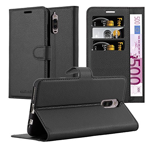 Cadorabo Hülle für Huawei Mate 9 PRO in Phantom SCHWARZ - Handyhülle mit Magnetverschluss, Standfunktion & Kartenfach - Hülle Cover Schutzhülle Etui Tasche Book Klapp Style