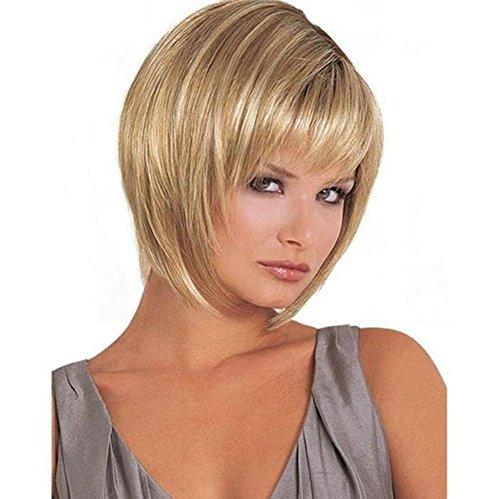 BFMAOYI BF Europäische und amerikanische Hochtemperatur-Draht Perücke weiblichen kurze glatte Haare blass goldgelbe Farbe Steigung Trend flaumig, leicht gewellt Toupet