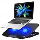 KEROLFFU Laptop Cooling Pad 15.6 14 13 Inch (Big 2Fans Super Quiet, Double Sides Built-in USB Line, Back Feet Stand) Fit Apple Air / Pro / MacBook