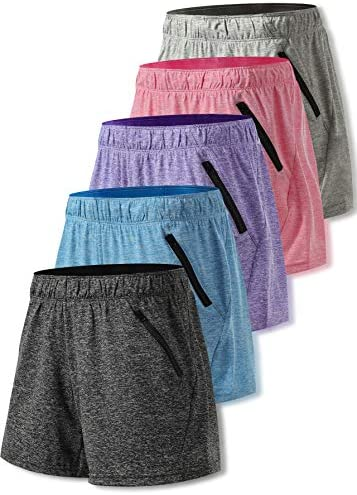 Liberty Imports Pack of 5 Women s Quick Dry Heather Yoga Training Shorts with Zipper Pockets product image