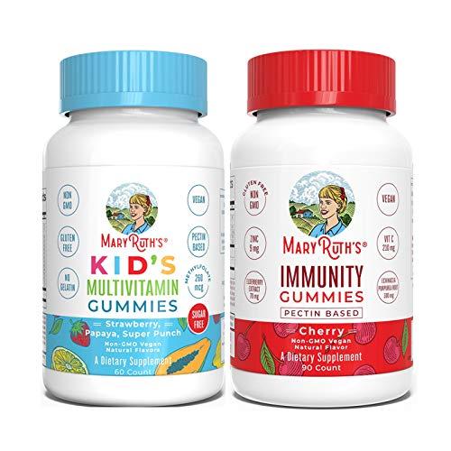 Kids Multivitamin + Immunity Gummies Bundle by MaryRuth's | Kids Sugar Free Multivitamin Gummies, 60ct | Immunity 5-in-1 Gummies for Kids & Adults, 90ct | Vegan, Non-GMO, Gluten Free
