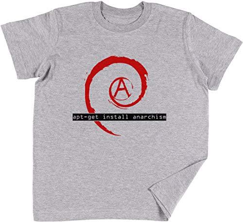 Vendax Apt-Get Install Anarchism Niños Chicos Chicas Unisexo Camiseta Gris