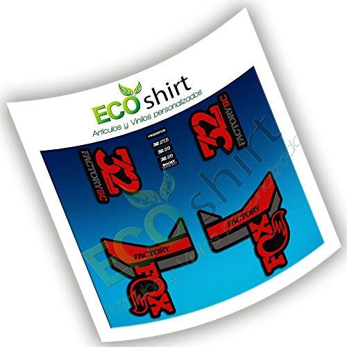 Ecoshirt DS-1NAO-RZFN Pegatinas Fox 32 Factory SC Eco53 Fork Stickers Aufkleber Adesivi Bike Decals, Rojo