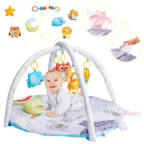 Rabbit-Shaped Baby Play Mat -Infant Activity Gym with 1 Plush Moon Pillow and 6 Removable Hanging Baby Toys- Perfect Stimulating Baby Tummy Time Play Mat for Baby Boys and Girls Aged 0 to 12 Months