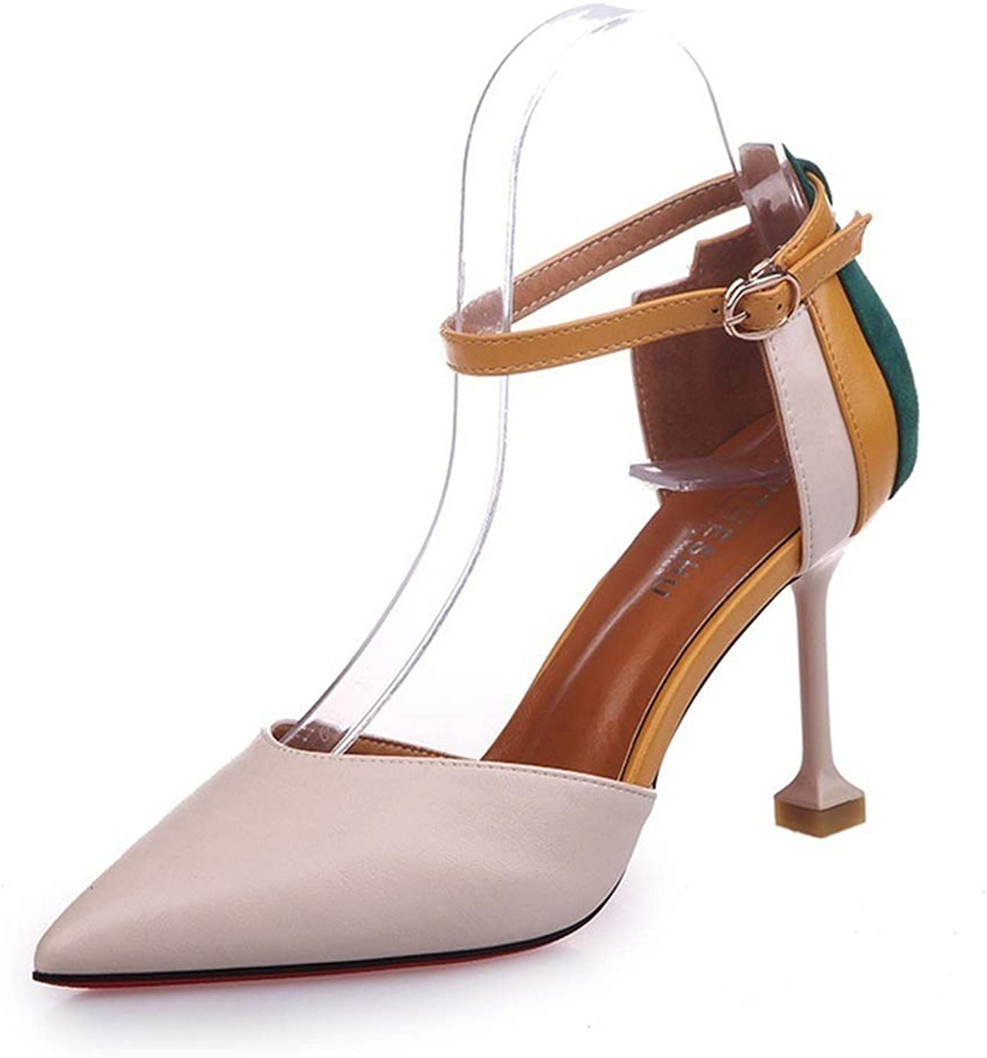 HEDDK Women Sandals Buckle Sexy High Heel Sandals Ladies Pointed Toe Pumps shoes Summer Beach shoes Plus Size 34-38