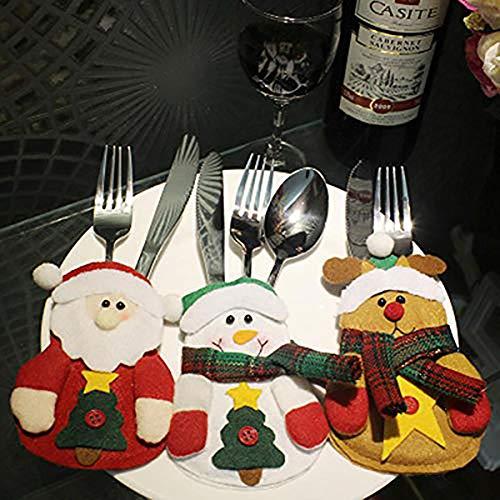 Oinna 1 cuchillo y tenedor de peluche de Navidad exquisito cuchillo de Navidad y tenedor, juego de vajilla de Navidad para decoración de Navidad (ciervo de Navidad)
