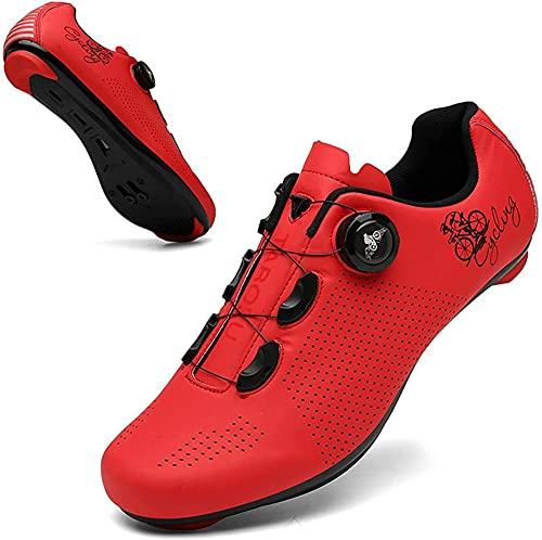 CHUIKUAJ Zapatillas de Ciclismo Unisex para Bicicleta de Carretera Zapatillas de Montar con Zapatilla Peloton con Tacos Compatibles con SPD y Zapatillas Delta para Interior y Exterior,Red-39 EU