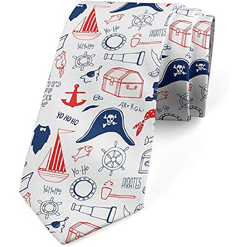 Mathillda Corbata para hombres, tema de marinero dibujado a mano, azul marino escarlata, regalos perfectos para corbata de moda
