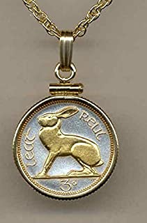 """Irish """"Rabbit"""",Gorgeously 2-Toned (Uniquely Hand done) Gold on Silver coin Necklaces for women men girls girlfriend boys teen girls Pendants"""