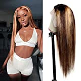 Maxine Hair 13x6 Lace Front Wig Human Hair Piano Color Middle Part Wigs for Black Women 13x6x1 T-Part Lace Closure Wig Pre Plucked with Baby Hair 150% Density 28 Inch