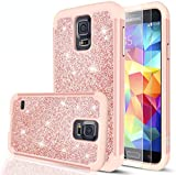 LeYi Compatible with Galaxy S5 Glitter Case with Glass Screen Protector, Bling Cute Girls Women Design [PC Silicone Leather] Dual Layer Heavy Duty Phone Case for Samsung Galaxy S5 TP (Rose Gold)
