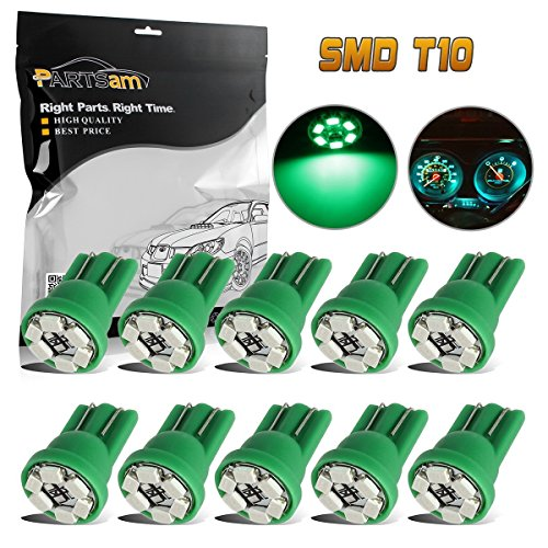 Partsam 10x T10 Wedge 168 194 W5W 2825 Green Instrument Gauge Cluster Panel LED Light Bulbs