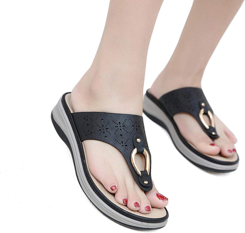 Women Roman Summer Hollow Beach Thong Flip Flops Non-Slip Comfortable Wedges Platform Female Sandals