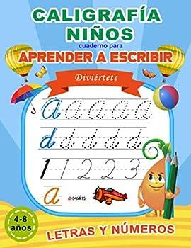 Caligrafía niños  Cuaderno para aprender a escribir letras y números  Libro de actividades para niños de 4-8 años  Spanish Edition
