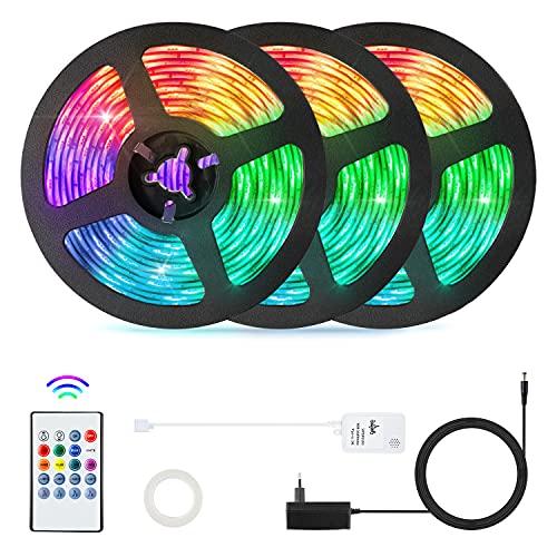 15m Striscia LED,OxyLED LED Striscia 5050 RGB Strisce Luminose con Telecomando IR Sincronizza con la Musica,Luci LED Colorate Adatto per TV,Camera da letto,Decorazioni per Feste e per la Casa