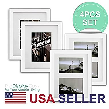 """The Display Guys~ 4 Sets 8x10 inch White Solid Pine Wood Photo Frame, Real Glass, Luxury Made Affordable, With White Core Mat Boards for 5""""x7"""" Picture + Collage Mat Board for 2-4""""x6"""" Picture (White)"""