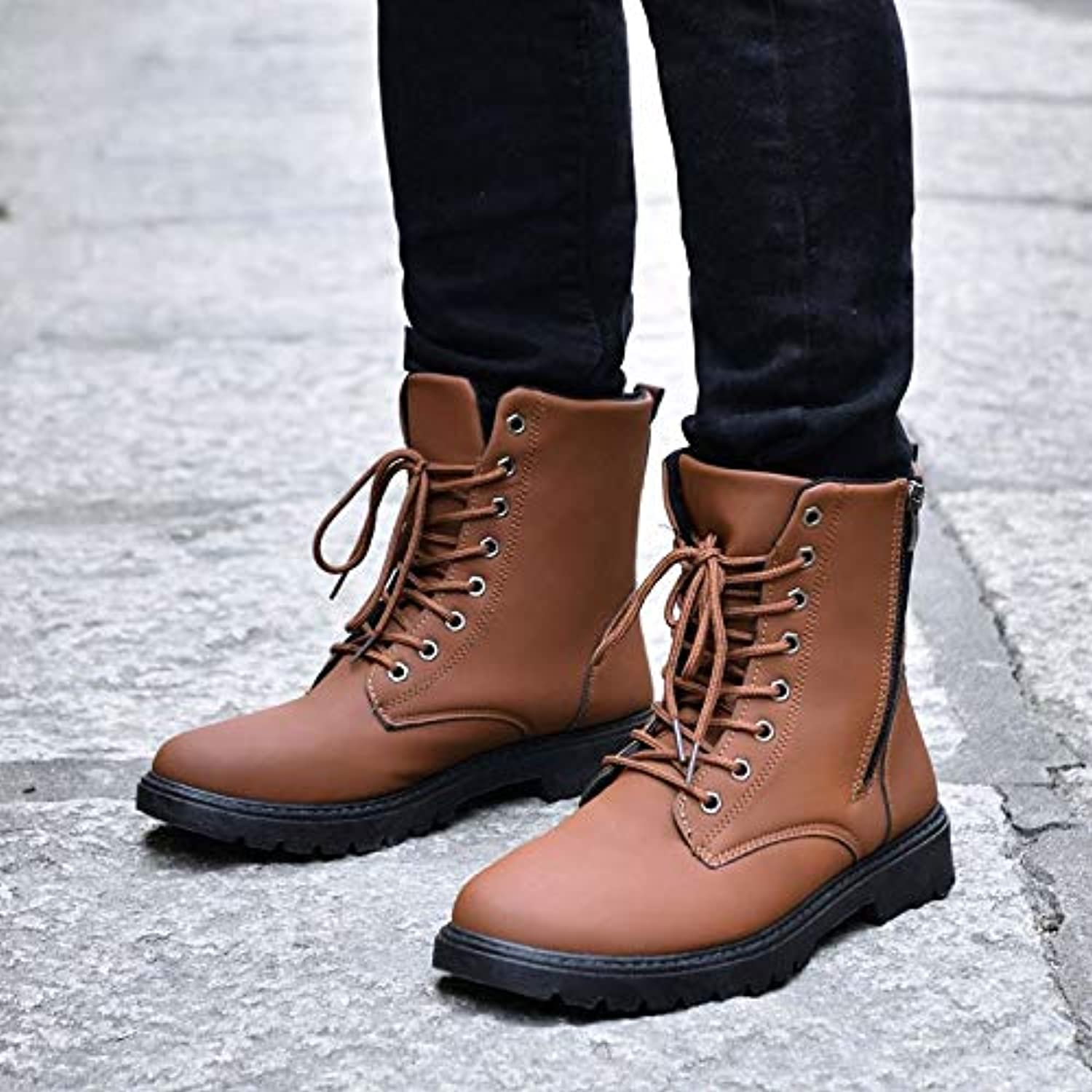 VXCZFS Outdoor boots Joker In The Middle Of A Single Boots In The Desert High To Help Winter Outdoor Boots Cotton shoes Waterproof Men'S Boots British Retro In The Tube Boots, 42, Yellow Cotton Boots