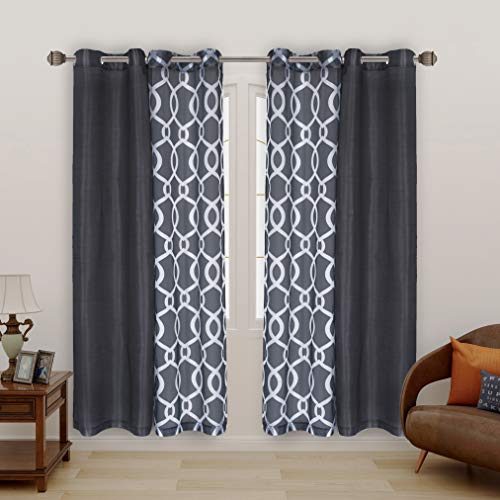 LORDTEX Mix and Match Curtain - 2 Pieces Moroccan Print Sheer Curtains and 2 Pieces Faux Dupioni Silk Curtains for Bedroom Living Room Grommet Window Curtains Set of 4 Panels (27x84/Panel, Grey)