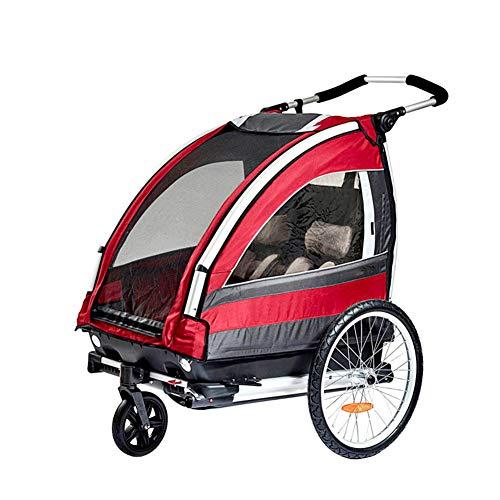 CHEERALL Niños Bicicleta Remolque Plegable 2 plazas Cochecito de Paseo Multifuncional con Rueda giratoria 360 ° Childs Bicicleta Remolque Transporte Buggy Portador para 2 niños