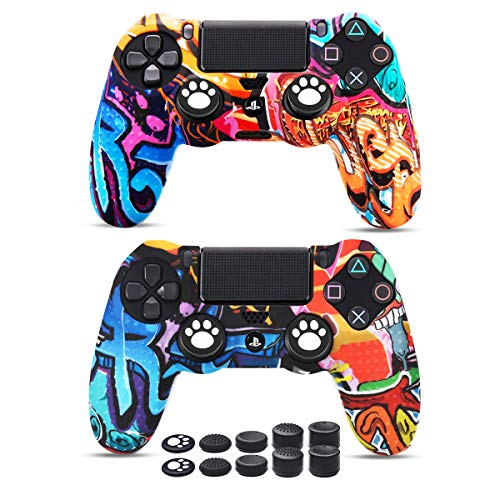 PS4 Controller Skins x 2, 6amLifestyle Silicone Cover Skin Anti-Slip Case for PS4/ Slim/PRO Dualshock Controller x 2(Graffiti) + Pro Thumb Grips x 10