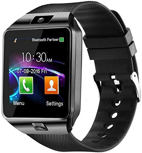 Smart Watch with Bluetooth Calling , SIM Card Slot Camera Pedometer Touch Screen Music Player Smart Watches for Mens Boys and Girls ( smartwatch ) - Silver