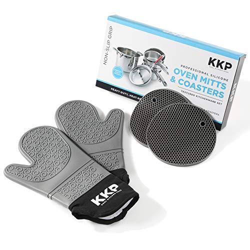 Kool Kitchen Pros Graue Silikon-Ofenhandschuhe-Set + Silikon-Untersetzer - Latexfreie Topfhandschuhe zum Kochen, Backen & Grillen inkl. Topflappen - Backhandschuhe und Untersetzer für heiße Pfannen