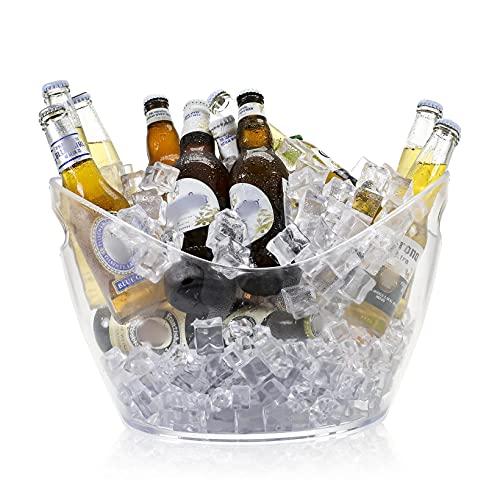 Cubitera de 12 L con asas, enfriador de champán, cubo de cerveza acrílico para familias, fiestas, barbacoas, picnics