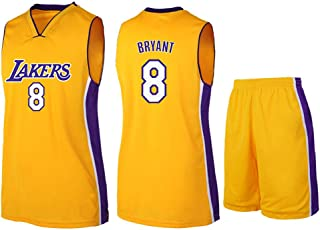 MMW Hommes Femme Lakers 8# Bryant Kobe Maillot T-Shirt De Basket-Ball Uniforme De Basket-Ball Top Brod/és