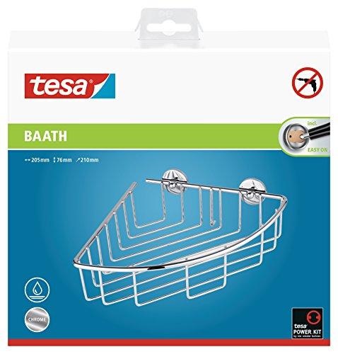 Tesa baath Plus Eckkorb (für die Dusche, verchromt, inkl. Klebelösung, 76mm x 205mm x 210mm)
