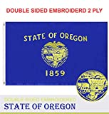G128 - Oregon State Flag | 3x5 feet | Double Sided Embroidered 210D - Indoor/Outdoor, Brass Grommets, Heavy Duty Polyester, 2-ply