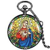 GIPOTIL Reloj de Bolsillo Exquisito para Mujer Patrón de la Virgen María Estuche Negro clásico Esfera con números arábigos Blancos de Cuarzo con Colgante Grueso