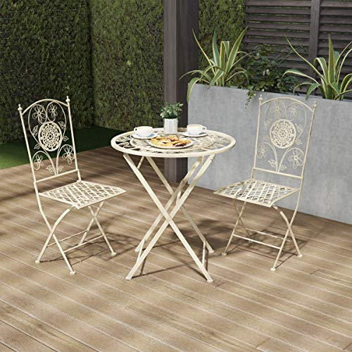 Lavish Home 80-OUTD-2 Outdoor Furniture for Garden, Patio, Porch Folding Bistro Set – 3PC Table and Chairs with Lattice & Flower Design, White