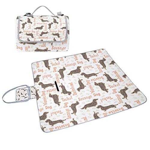 COOSUN Dackel Hunde Picknick Decke Tote Handlich Matte Mehltau resistent und wasserfest Camping Matte für Picknicks, Strände, Wandern, Reisen, Rving und Ausflüge