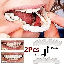 Dsqcai Upper and Lower Teeth Veneers Anti-True Braces Snap on Smile Teeth Whitening Denture Teeth Comfortable Veneer Cover Teeth,Box,Upper and Lower Teeth