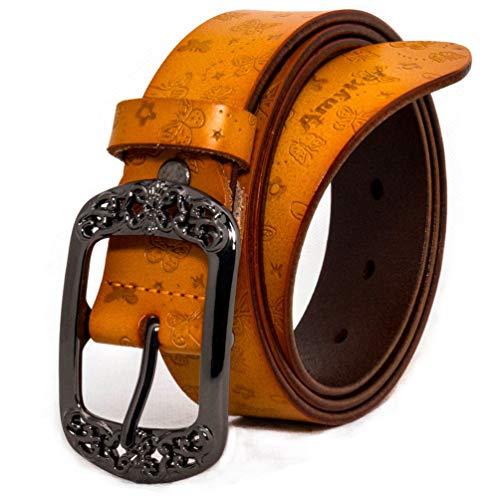 """AmyKer mujer cinturones de cuero con hebilla en relieve, rojo, amarillo, marrón, negro, regalo para ella (amarillo, 105 cm (Cintura: 20""""-33""""))"""