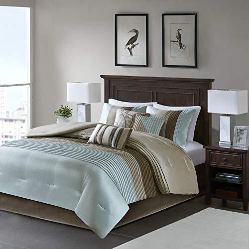 Madison Park Amherst Faux Silk Comforter Set-Casual Contemporary Design All Season Down Alternative Bedding, Matching Shams, Bedskirt, Decorative Pillows, Queen(90'x90'), Blue, 7 Piece