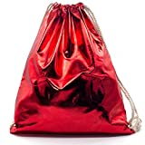 Franky Zano Turnbeutel im Metallic Design - Rucksack - Sportbeutel - Beutel - Gym Bags - Tasche (Rot...
