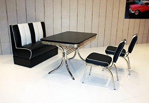 wendland-moebel.de Hausmarke Bank-Sitzgruppe American Diner Vegas King6 4tlg in schwarz schwarz