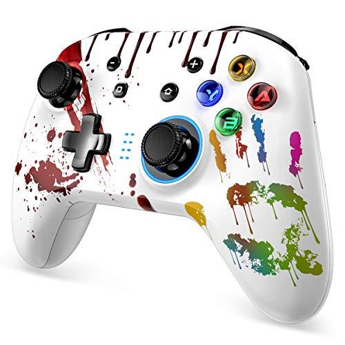 Wireless Controller für Switch, Bluetooth Wireless Pro Controller mit Wiederaufladbarer Akku, Dual Shock und Turbo Funktionen, Gamepad mit 6-Achsen Gyrosko, Zubehörsets für Switch/PC